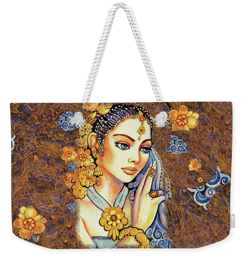 Indian Woman Weekender Tote Bag featuring the painting Amari by Eva Campbell