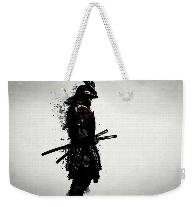 Samurai Weekender Tote Bag featuring the mixed media Armored Samurai by Nicklas Gustafsson