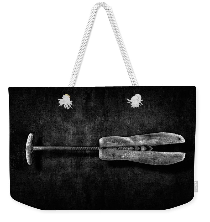 Art Weekender Tote Bag featuring the photograph Antique Shoe Stretcher Bw by YoPedro