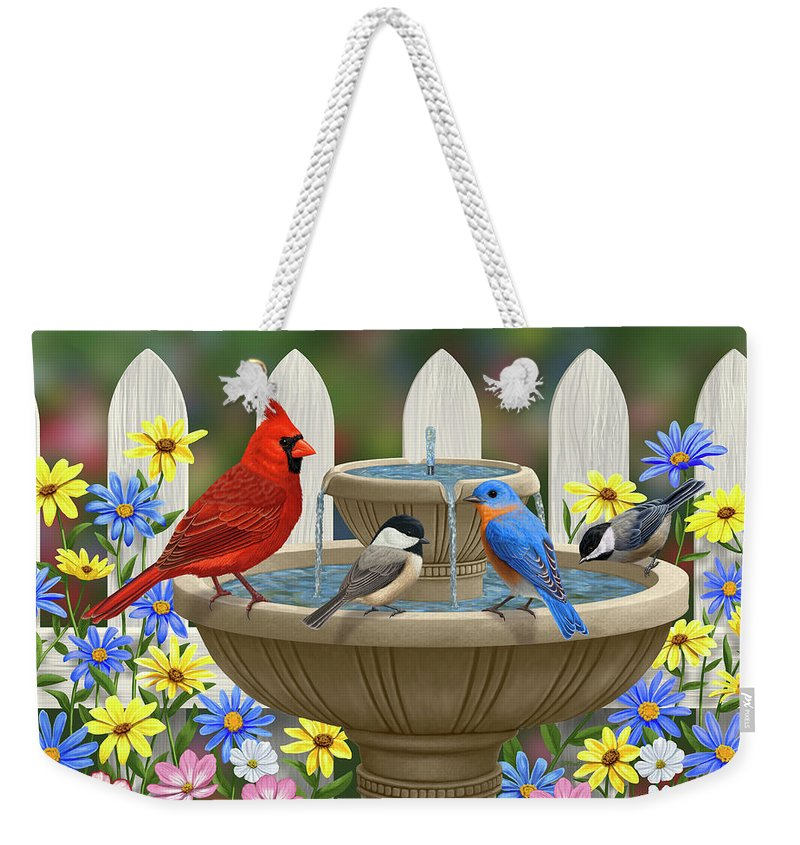Birds Weekender Tote Bag featuring the painting The Colors Of Spring - Bird Fountain In Flower Garden by Crista Forest