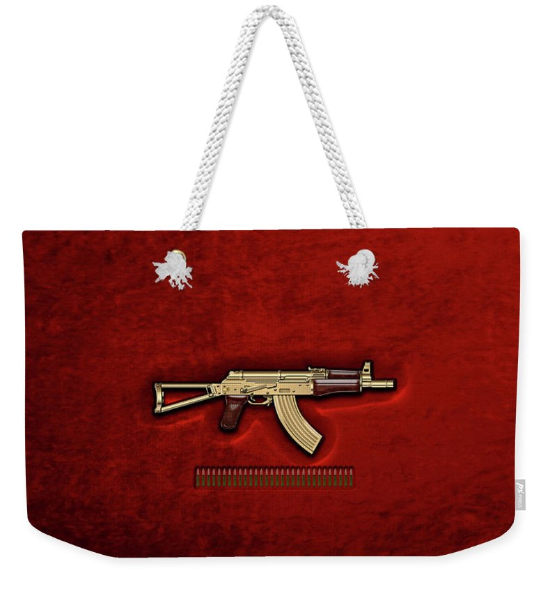 'the Armory' Collection By Serge Averbukh Weekender Tote Bag featuring the photograph Gold A K S-74 U Assault Rifle With 5.45x39 Rounds Over Red Velvet  by Serge Averbukh