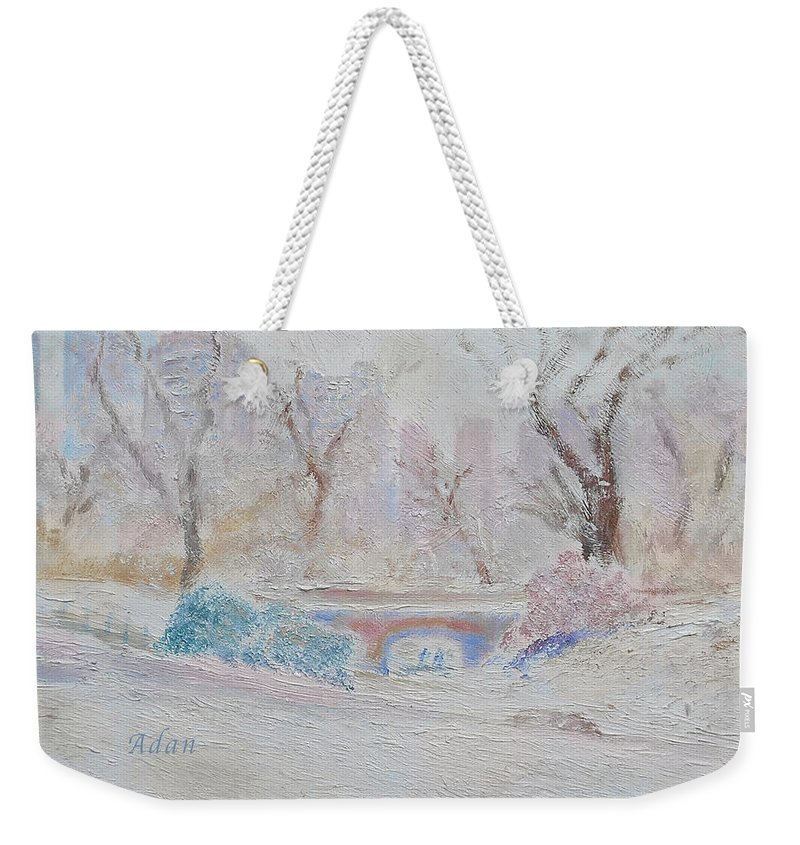 Central Park Weekender Tote Bag featuring the painting Central Park Record Early March Cold Circa 2007 by Felipe Adan Lerma