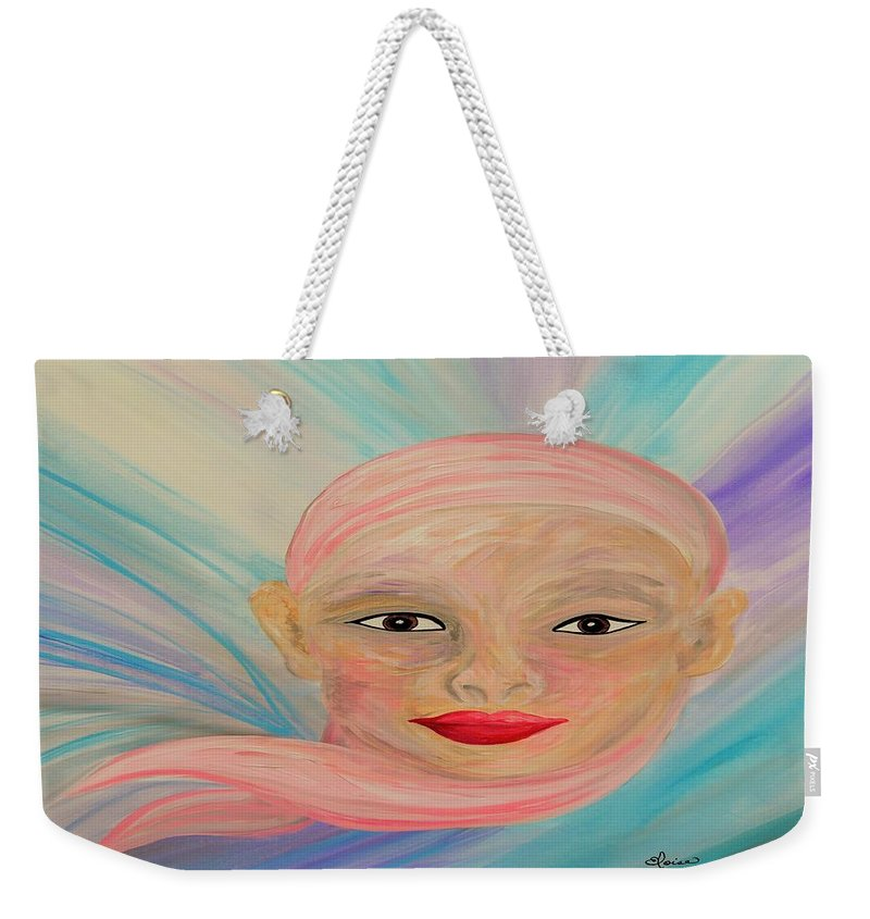 Bald Weekender Tote Bag featuring the painting Bald Is Beauty With Brown Eyes by Eloise Schneider Mote
