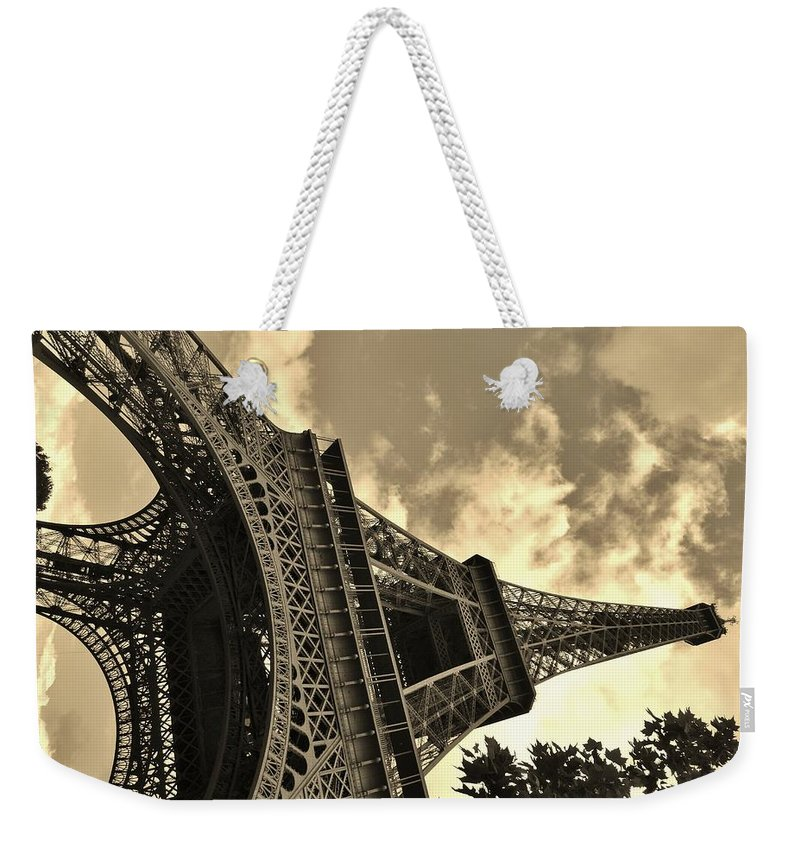 Paris Weekender Tote Bag featuring the photograph Sepia Eiffel by Victor Carvalho