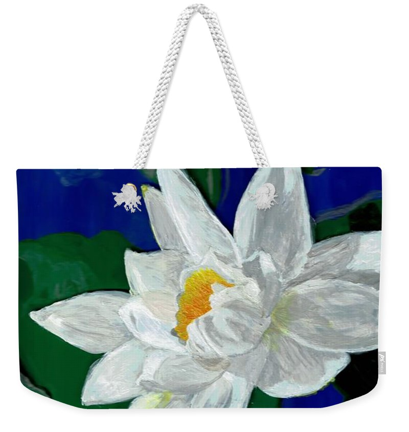 Flower Weekender Tote Bag featuring the painting Lilly Pond by Christa Chandler