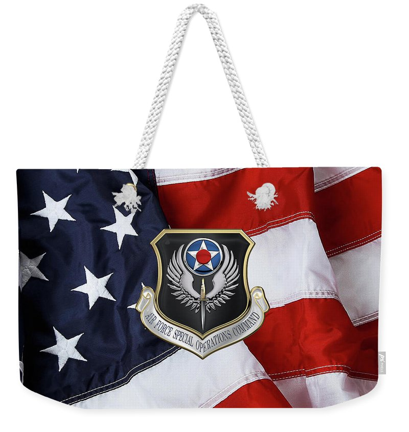 'military Insignia & Heraldry' Collection By Serge Averbukh Weekender Tote Bag featuring the digital art Air Force Special Operations Command - A F S O C Shield Over American Flag by Serge Averbukh