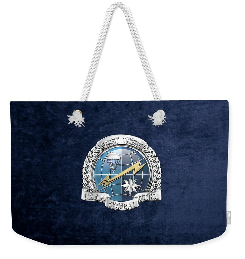 'military Insignia & Heraldry' Collection By Serge Averbukh Weekender Tote Bag featuring the digital art U. S. Air Force Combat Control Teams - Combat Controller C C T Badge Over Blue Velvet by Serge Averbukh