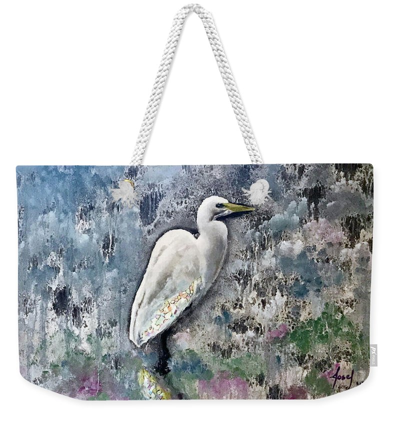 Rehoboth Beach Weekender Tote Bag featuring the painting Silver Lake Snowy Egret by Josef Kelly