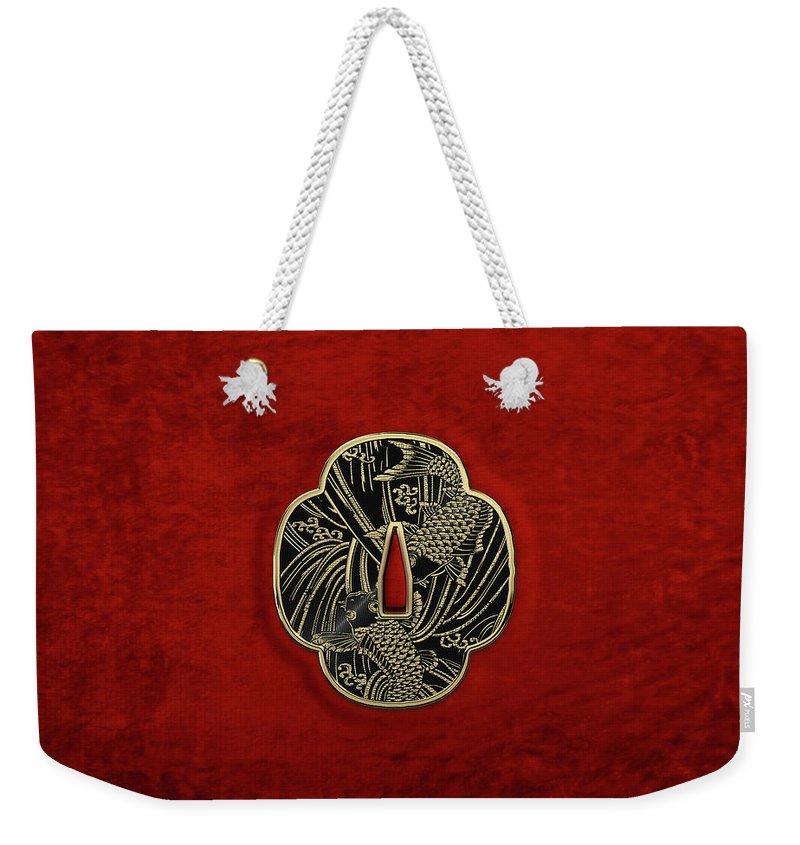 'treasures Of Japan' Collection By Serge Averbukh Weekender Tote Bag featuring the digital art Japanese Katana Tsuba - Golden Twin Koi On Black Steel Over Red Velvet by Serge Averbukh
