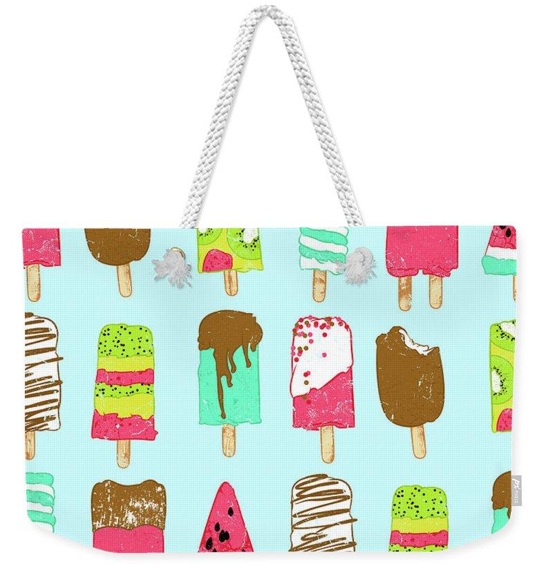 Ice-cream Weekender Tote Bag featuring the digital art Ice Cream Time by Evgenia Chuvardina