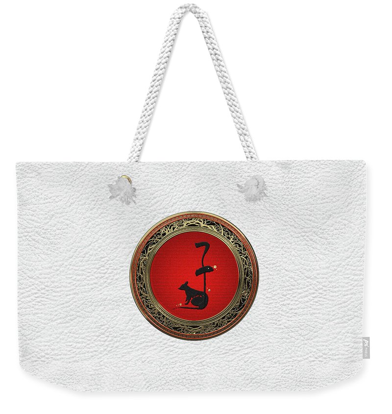 'zodiac' Collection By Serge Averbukh Weekender Tote Bag featuring the digital art Chinese Zodiac - Year Of The Rat On White Leather by Serge Averbukh