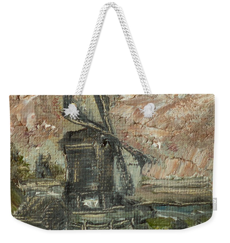 Oil Painting Weekender Tote Bag featuring the painting The Windmail by Sergey Shorin