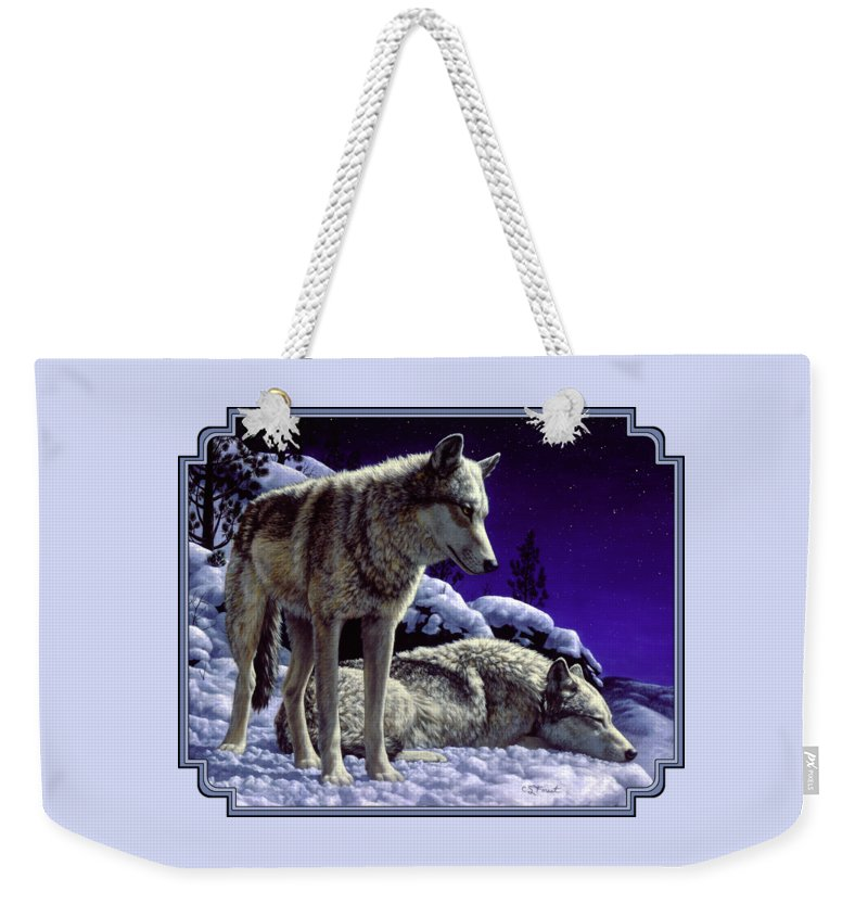 Wolf Weekender Tote Bag featuring the painting Wolf Painting - Night Watch by Crista Forest
