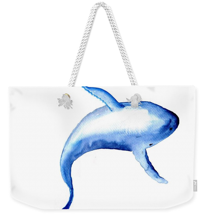 Humpback Whale Weekender Tote Bag featuring the painting Whale 3 by Sweeping Girl