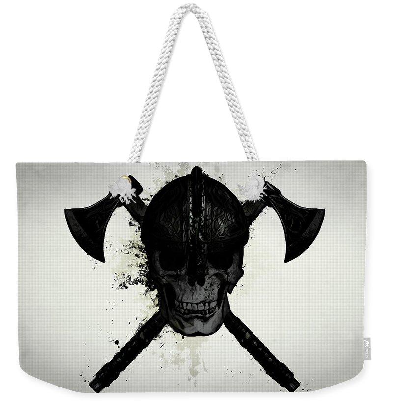 Viking Weekender Tote Bag featuring the digital art Viking Skull by Nicklas Gustafsson