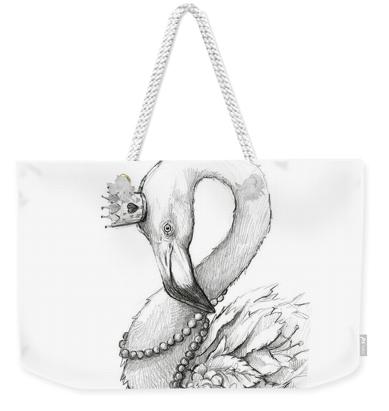 Flamingo Weekender Tote Bag featuring the painting Flamingo In Pearl Necklace by Olga Shvartsur