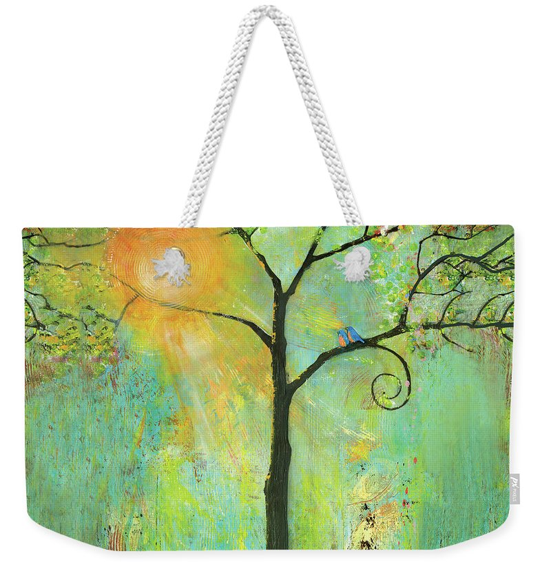 Nature Weekender Tote Bag featuring the painting Hello Sunshine Tree Birds Sun Art Print by Blenda Tyvoll