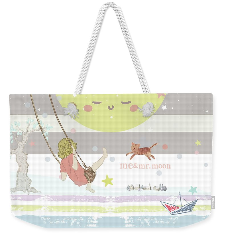 Weekender Tote Bag featuring the digital art Me and Mr. Moon by Claire Tingen