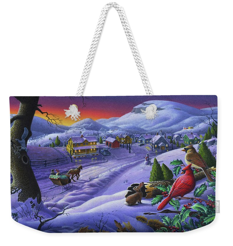 Christmas Weekender Tote Bag featuring the painting Christmas Sleigh Ride Winter Landscape Oil Painting - Cardinals Country Farm - Small Town Folk Art by Walt Curlee