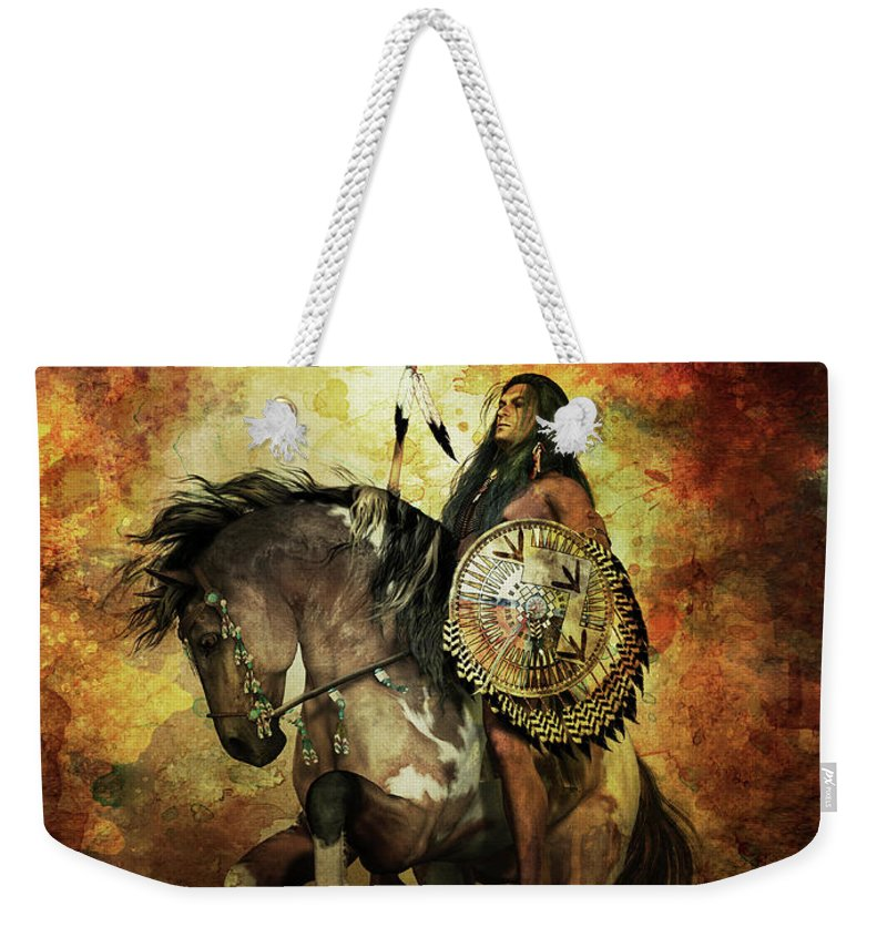 Courage Weekender Tote Bag featuring the digital art Warrior by Shanina Conway