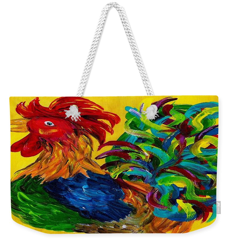 Rooster Weekender Tote Bag featuring the painting Plucky Rooster by Eloise Schneider Mote