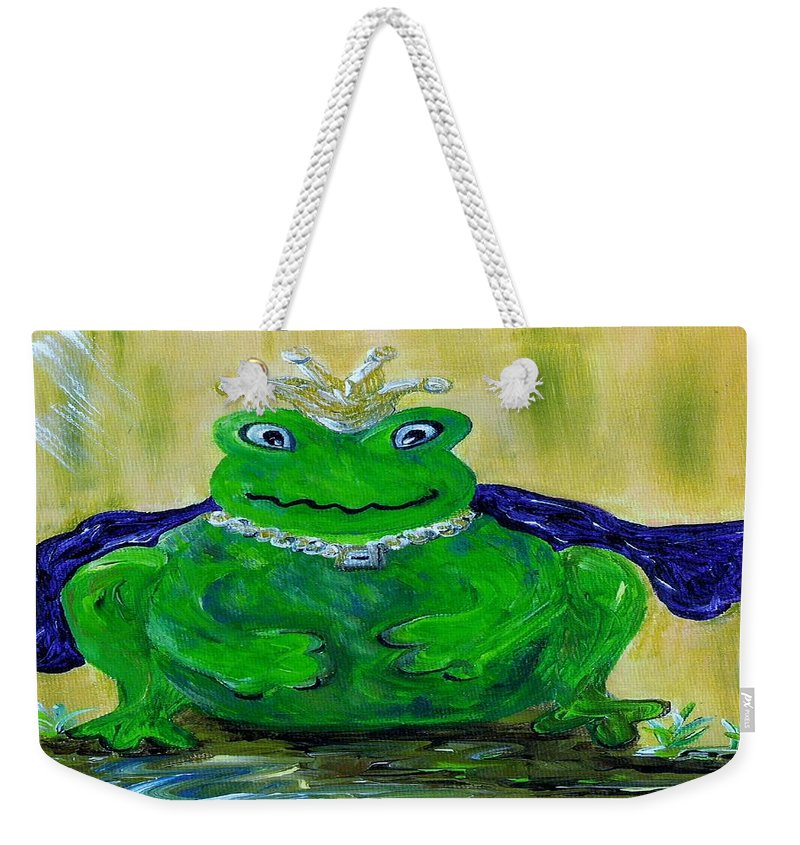 Frog Weekender Tote Bag featuring the painting King For A Day by Eloise Schneider Mote