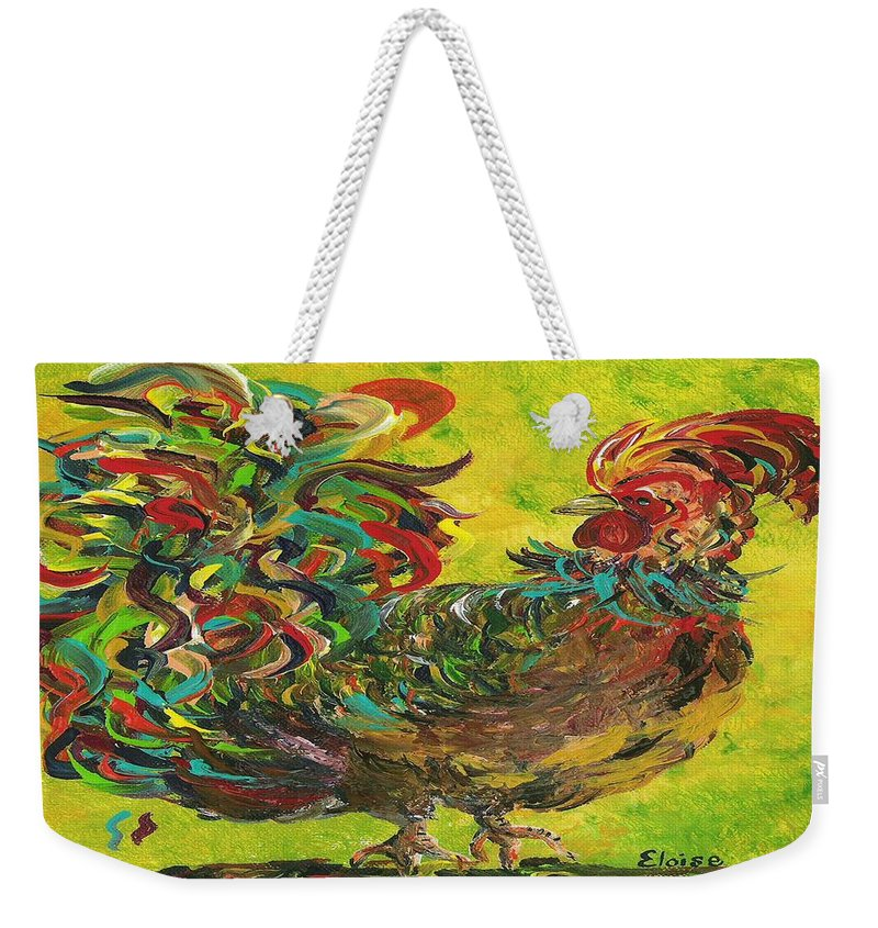 Rooster Weekender Tote Bag featuring the painting De Colores Rooster #2 by Eloise Schneider Mote