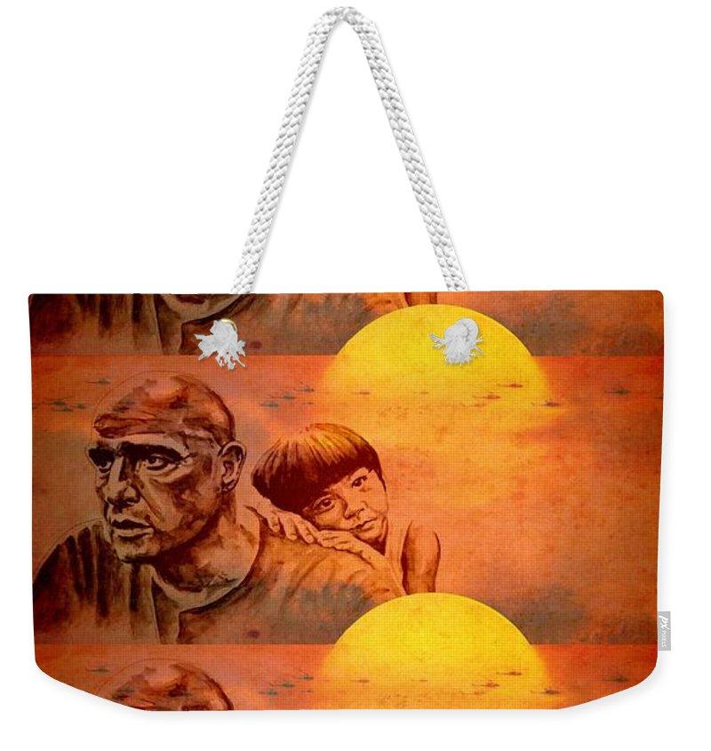 Marlon Brando Weekender Tote Bag featuring the painting Marlon Brando As Colonel Kurtz by Richard Tito