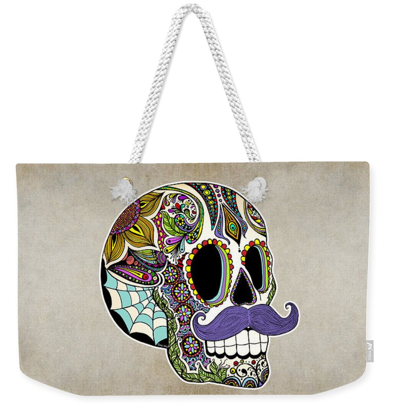 Vintage Weekender Tote Bag featuring the digital art Mustache Sugar Skull Vintage Style by Tammy Wetzel