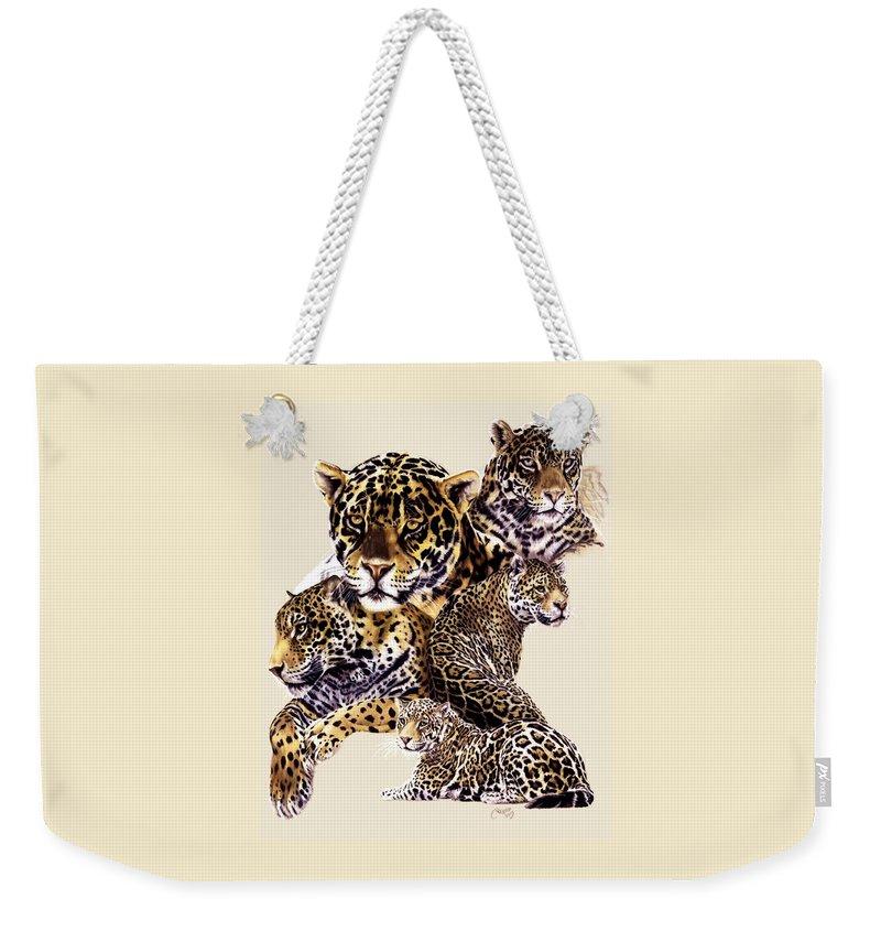 Jaguar Weekender Tote Bag featuring the drawing Burn by Barbara Keith