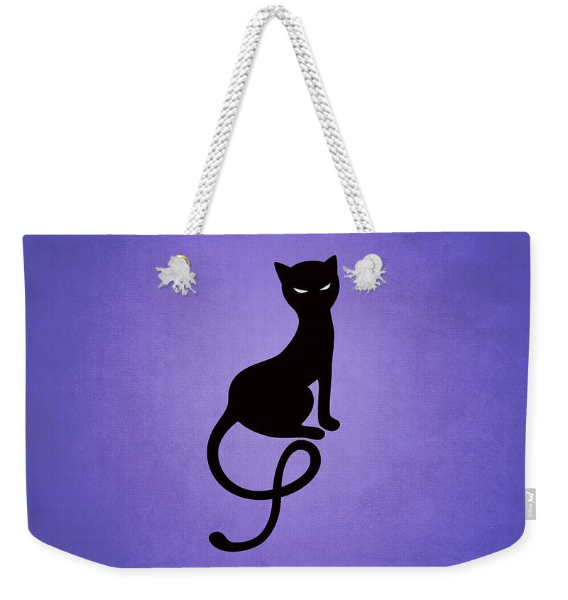Cats Weekender Tote Bag featuring the digital art Purple Gracious Evil Black Cat by Boriana Giormova