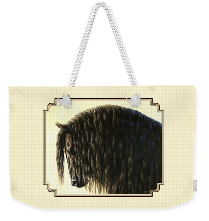 Horse Weekender Tote Bag featuring the painting Horse Painting - Friesland Nobility by Crista Forest