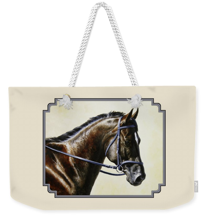 Horse Weekender Tote Bag featuring the painting Dressage Horse - Concentration by Crista Forest