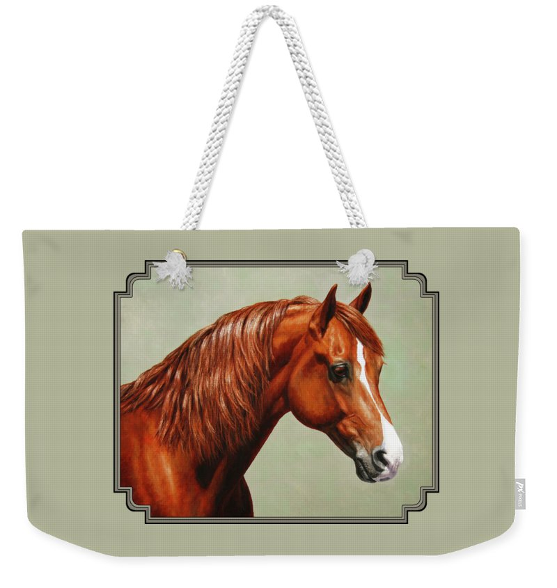 Horse Weekender Tote Bag featuring the painting Morgan Horse - Flame by Crista Forest