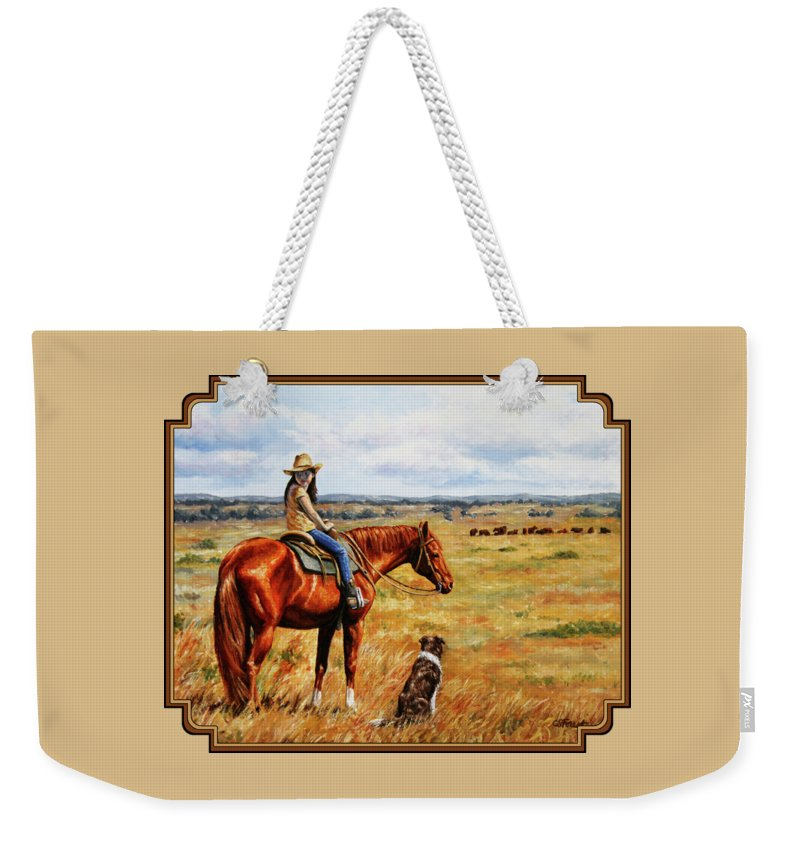 Western Weekender Tote Bag featuring the painting Horse Painting - Waiting For Dad by Crista Forest