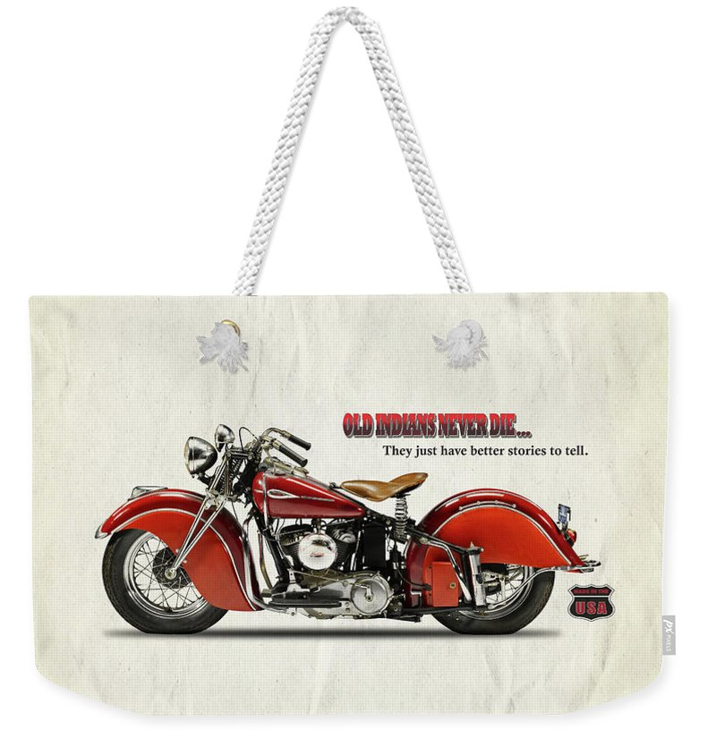 Indian Motorcycle Weekender Tote Bag featuring the photograph Old Indians Never Die by Mark Rogan