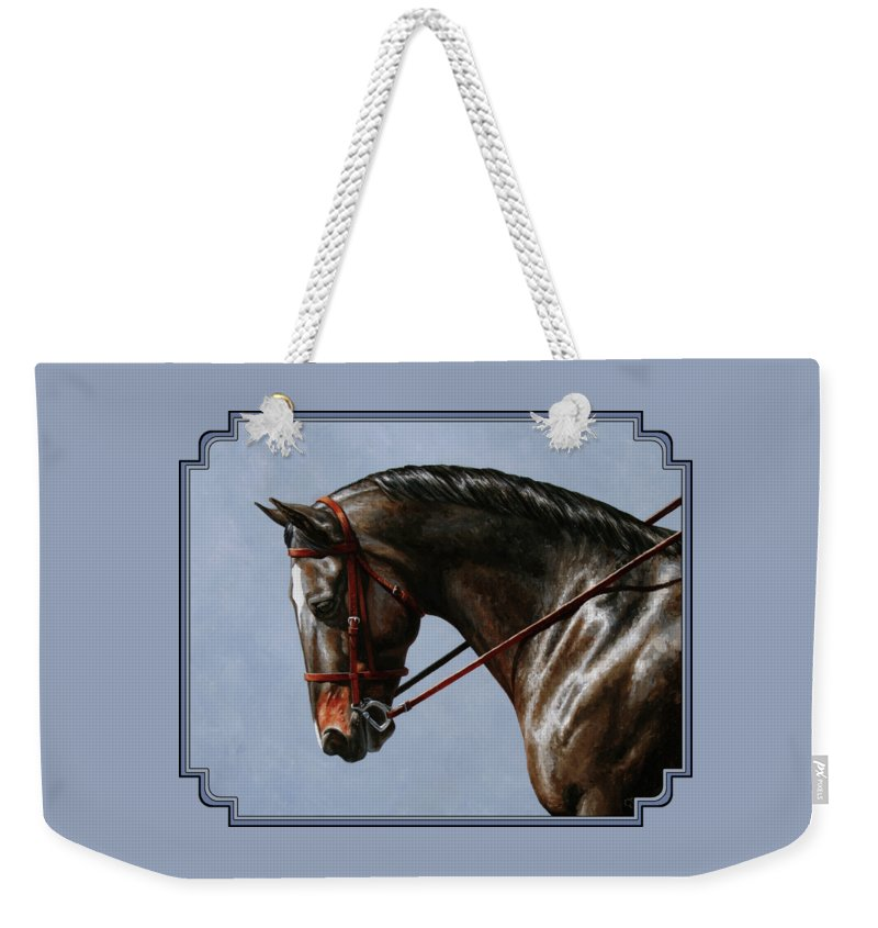 Horse Weekender Tote Bag featuring the painting Horse Painting - Discipline by Crista Forest