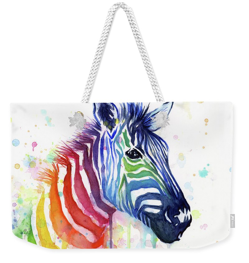 Rainbow Weekender Tote Bag featuring the painting Rainbow Zebra - Ode to Fruit Stripes by Olga Shvartsur