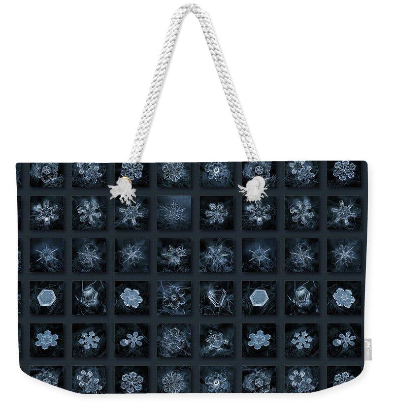 Snowflake Weekender Tote Bag featuring the photograph Snowflake Collage - Season 2013 Dark Crystals by Alexey Kljatov