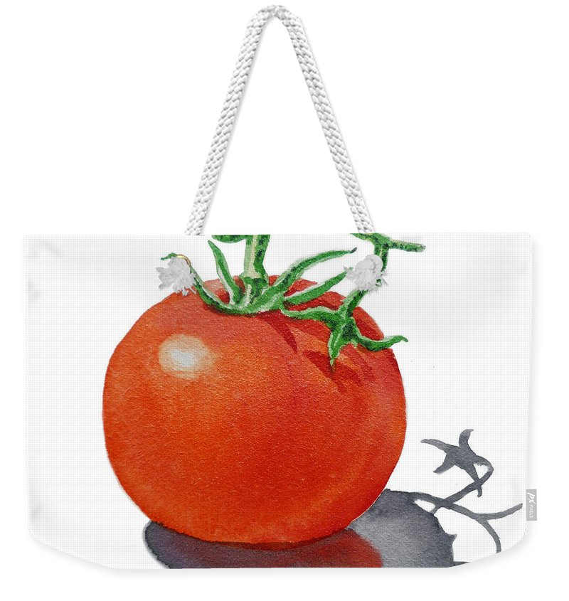 Tomato Weekender Tote Bag featuring the painting Artz Vitamins Tomato by Irina Sztukowski