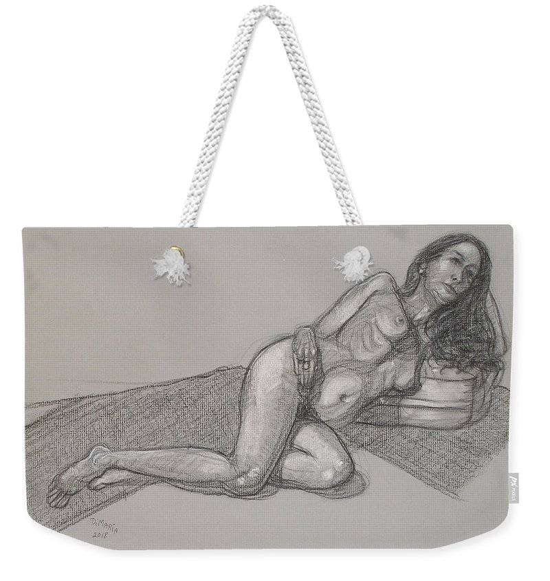 Realism Weekender Tote Bag featuring the drawing Arzelie Reclining 1 by Donelli DiMaria