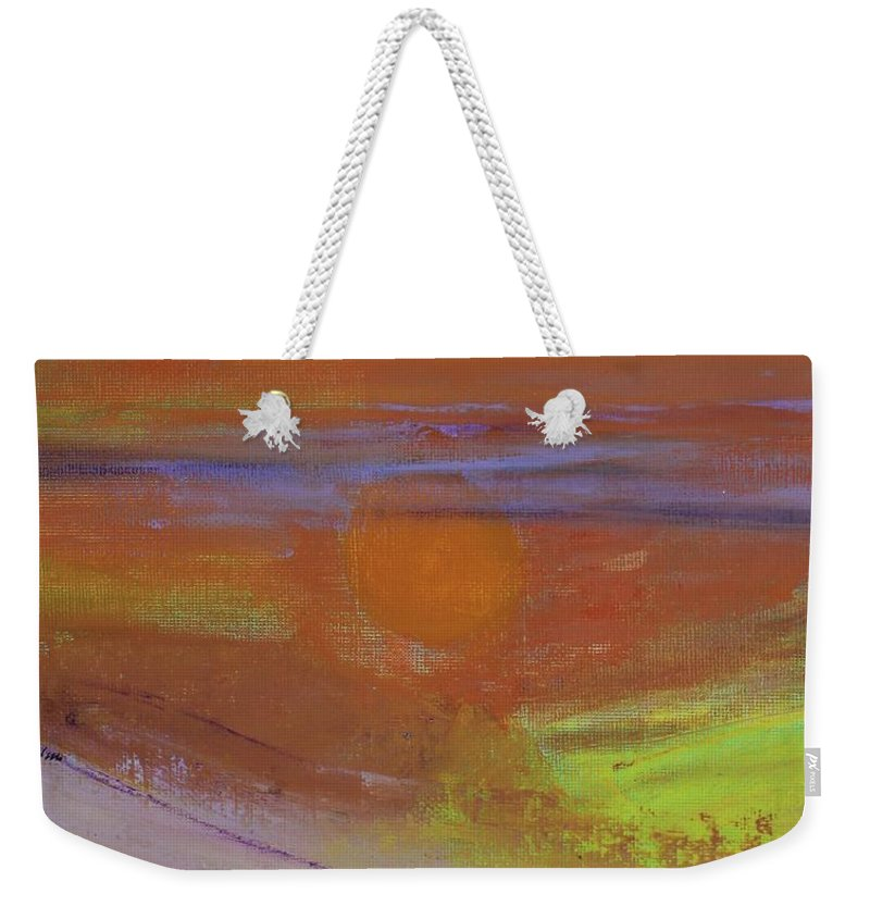 Burning Man Weekender Tote Bag featuring the painting As Burning Man Began by Kim Nelson