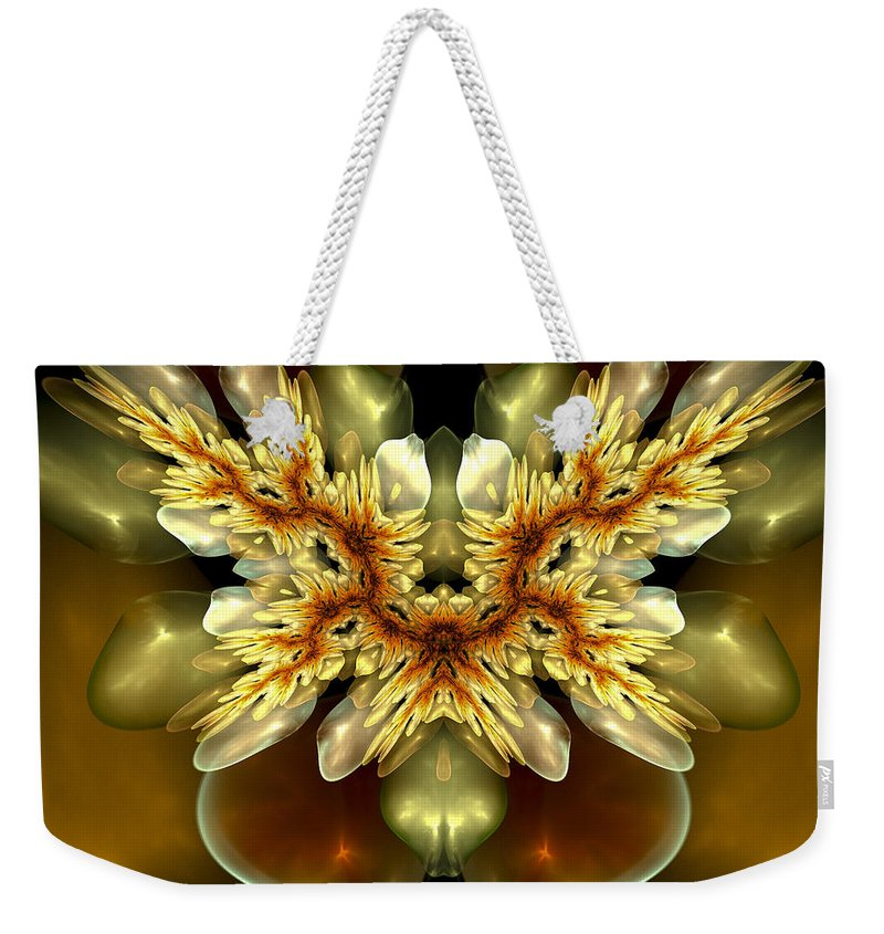 Fractal Weekender Tote Bag featuring the digital art As Fresh As Spring by Amorina Ashton
