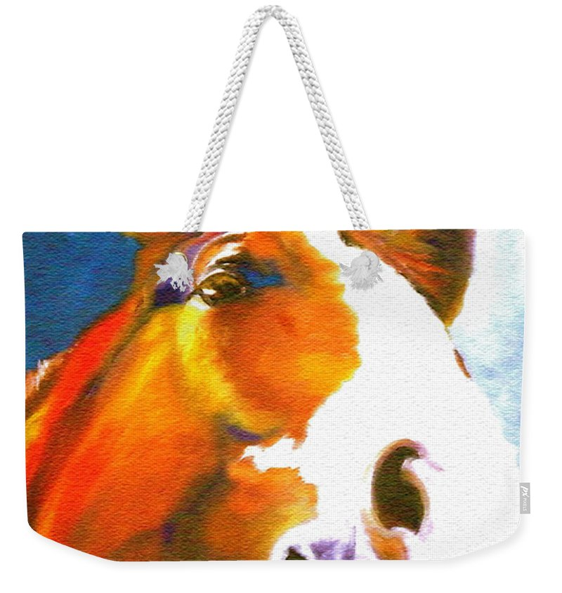 Animal Painting Paintings Weekender Tote Bag featuring the painting As I Was Saying by Susan A Becker