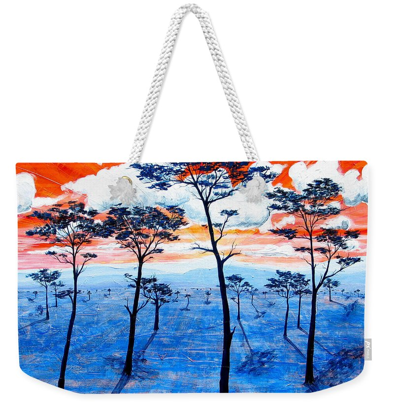 Landscape Weekender Tote Bag featuring the painting As It Was In The Beginning by Rollin Kocsis