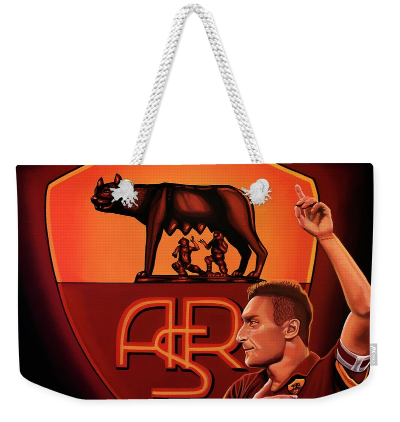 Francesco Totti Weekender Tote Bag featuring the painting As Roma Painting by Paul Meijering