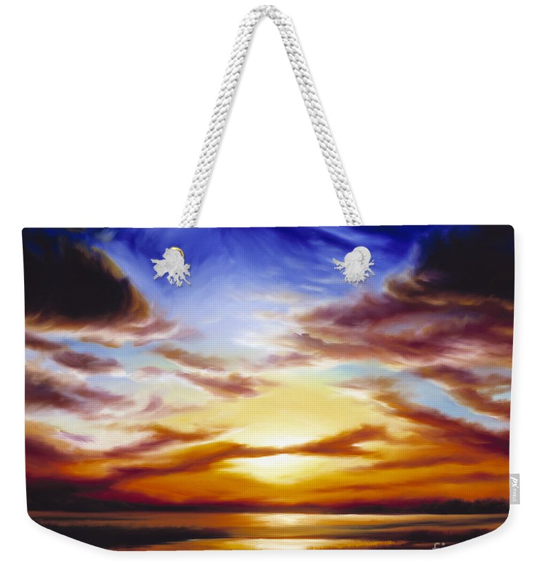 Skyscape Weekender Tote Bag featuring the painting As The Sun Sets by James Christopher Hill