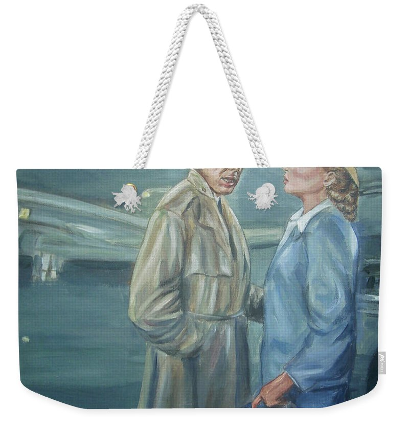 Casablanca Weekender Tote Bag featuring the painting As Time Goes By by Bryan Bustard