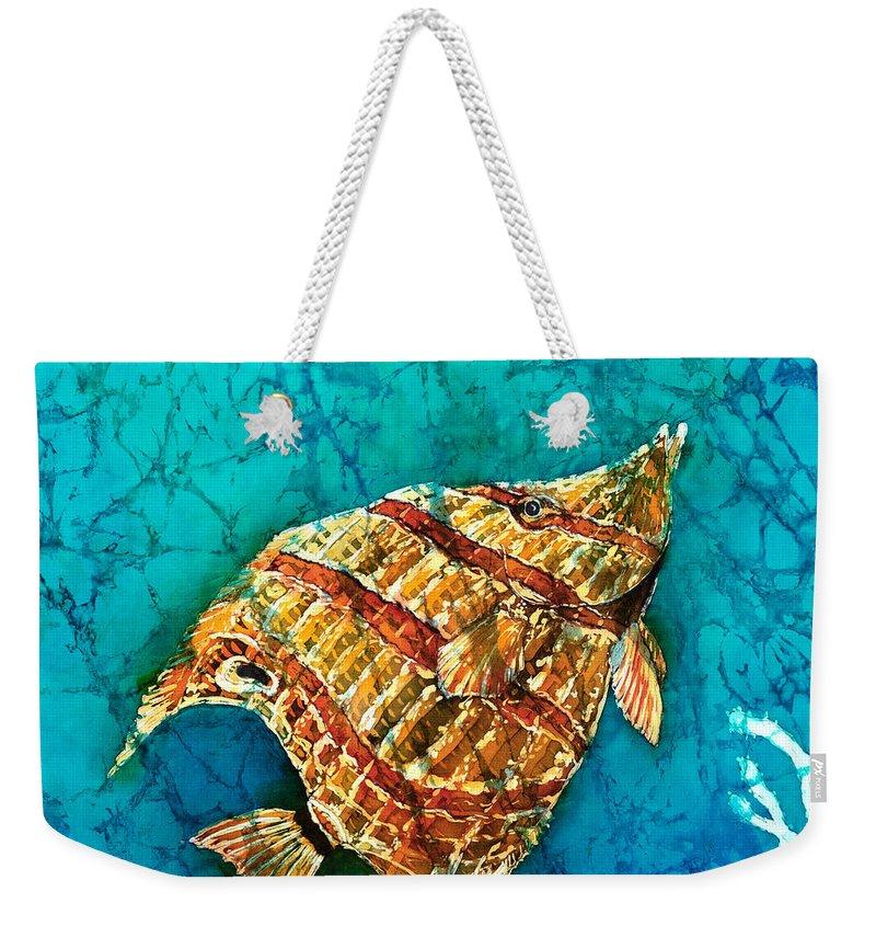 Beaked Butterflyfish Weekender Tote Bag featuring the painting Ascending by Sue Duda