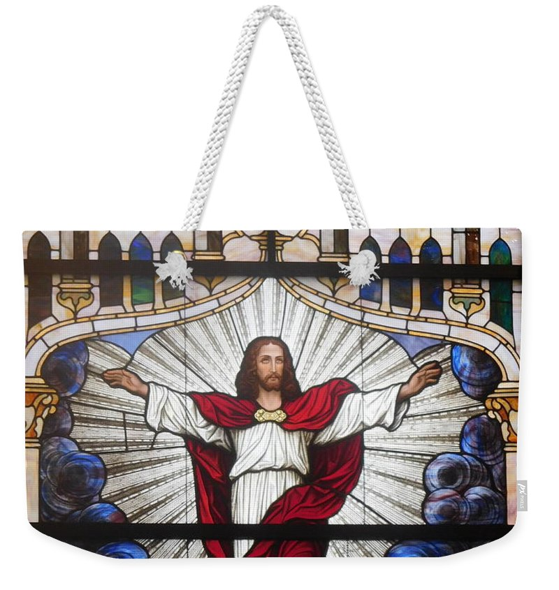 Stained Glass Weekender Tote Bag featuring the photograph Ascension by Barb Montanye Meseroll